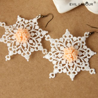 Evil Lamour Retro snowflake earrings ac20