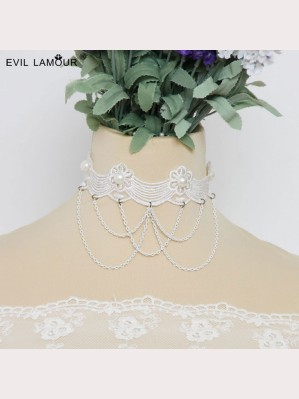 Evil Lamour Retro White Necklace ac51