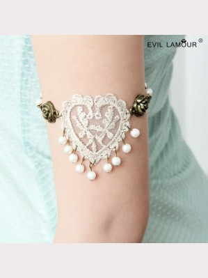 Evil Lamour Retro Lace Heart armbands ac76