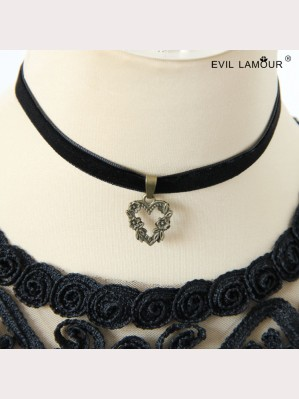 Evil Lamour Heart Velvet Rope Necklace ac90