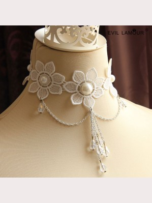Evil Lamour Lace flower necklace ac108