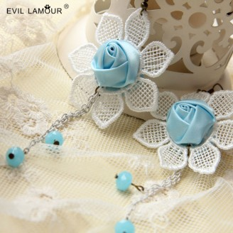 Evil Lamour Flowers tassel earrings ac116