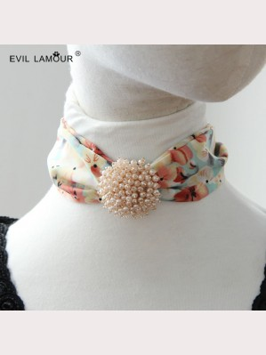 Evil Lamour Korean Floral Chiffon Necklace ac175