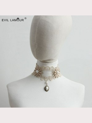 Evil Lamour Korea Pearl Flower Necklace ac265