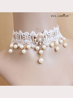 Evil Lamour white lace necklace ac408