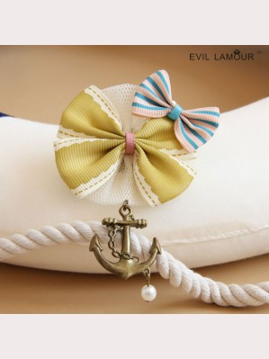 Evil Lamour the Navy bow brooch ac418