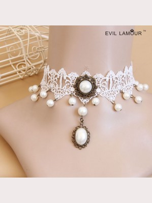Evil Lamour white lace necklace ac455
