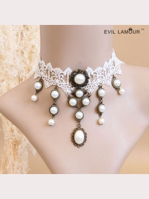 Evil Lamour White Pearl Necklace ac456