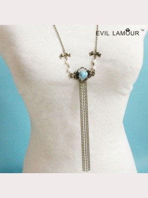 Evil Lamour Drama Pearl Lace Necklace ac503