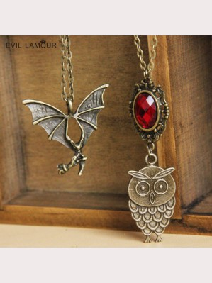 Evil Lamour Owl Bat Necklace ac504