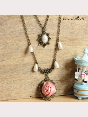 Evil Lamour Pearl Rose Necklace ac505
