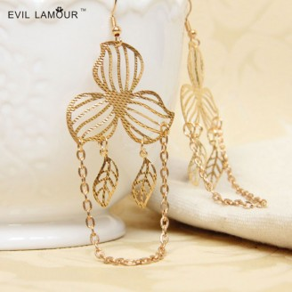 Evil Lamour gold leaf earrings ac517