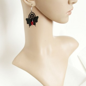 Evil Lamour Hell butterfly lace earrings ac1057