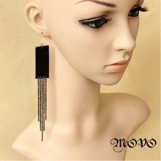 Evil Lamour Leather tassels Earrings ac1116