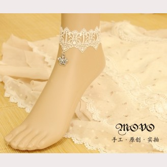 Evil Lamour white lace foot ring ac1154