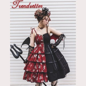 Flower Banquet Split Color Gothic Lolita Dress JSK (FB01)