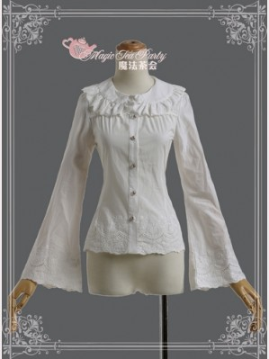 Magic tea party floral embroidery blouse
