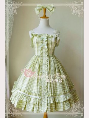 Magic tea party green tartan JSK