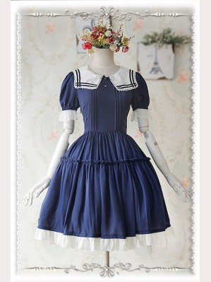 "Infanta ""Navy"" Lolita Dress Chiffon OP"