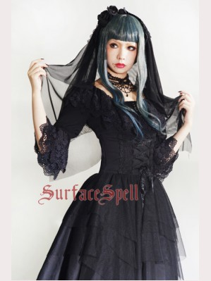 "Surface Spell Gothic ""White crystal and black agate"" chiffon blouse"