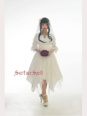 "Surface Spell Gothic ""White crystal and black agate"" steel boned high waist multi-layer skirt"