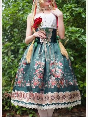 "Surface Spell Gothic ""Alpine rose"" steel boned skirt"