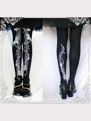 Ruby Rabbit Rose Skeleton Gothic Style Tights