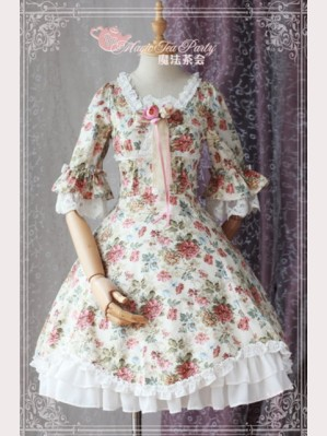 "Magic tea party ""Peony"" Classic Floral Lolita Dress OP"