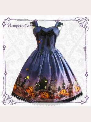 Pumpkin cat Halloween Lolita Dress JSK & KC Set