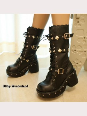 Black 3' heels studded buckle lace-up boots