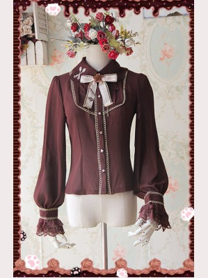 Infanta Chocolate drops embroidery lolita blouse (Long Sleeves)