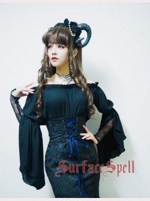 Surface Spell Gothic Medieval Off-shoulder Blouse