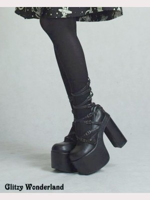 "Black strappy 5"" heels gothic lolita shoes"