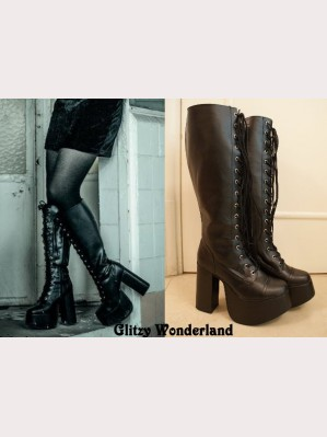"5"" high heels black gothic lolita lace up knee high boots"