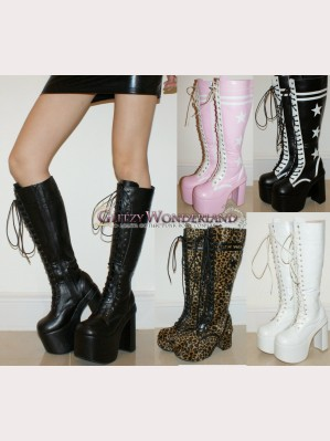 15cm heels lace up stars boots