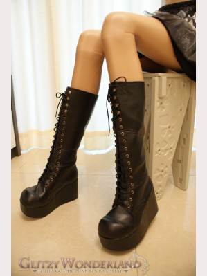 3.5' platform lace up knee high boots