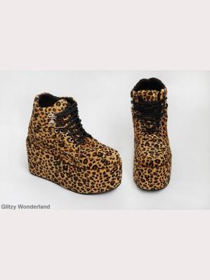 Japan Harajuku Leopard Velvet Sneaker Boot