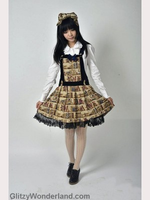Souffle song bear library suspender skirt