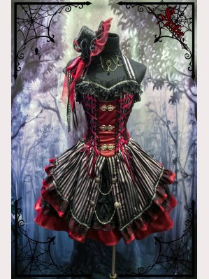 Black & red striped gothic dress