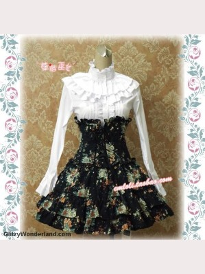 Black floral boned high-rise lolita skirt SK