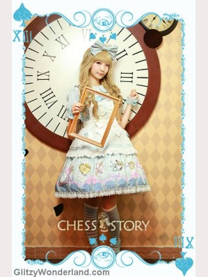 Chess Story Alice's Mad Tea Party lolita OP & Apron Set