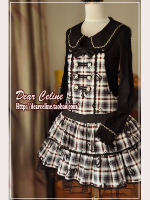 Dear Celine plaid suspender skirt