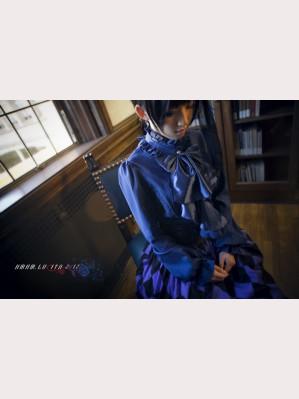 Classic blue satin sleeve collar shirt hm20