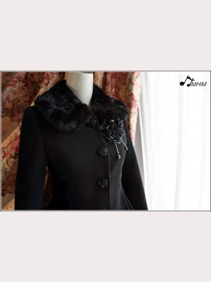 Black Rose Lace flower wool coat hm34
