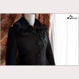 Black Rose Lace flower wool coat hm34