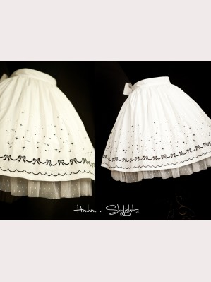 Star bow embroidered skirt hm48