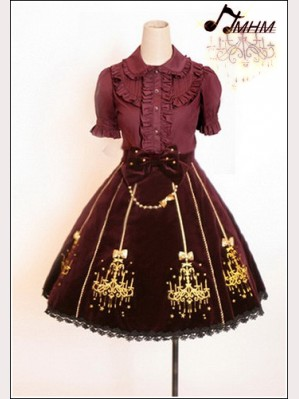 Embroidered velveteen skirt hm51