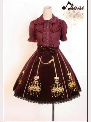 Embroidered velveteen skirt hm51