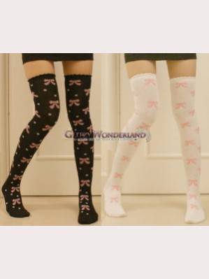 Sweet Lolita Style Bows & Dots Over Knee Socks Otks