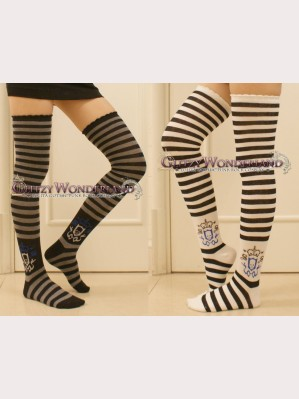 Striped Royal Skull Punk Style Over Knee Socks Otks